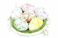(Цена за 3шт) Яйца пасхальные в тарелке, высота яйца 6,2 см, диаметр тарелки 17,5 см; яйца 4,6 см, материал пенопласт/бумажная стружка, цвета ассорти,