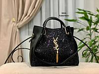 Женская сумка глиттер + косметичка,большая, фото 5