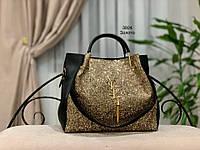 Женская сумка глиттер + косметичка,большая, фото 7