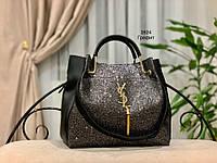 Женская сумка глиттер + косметичка,большая, фото 6