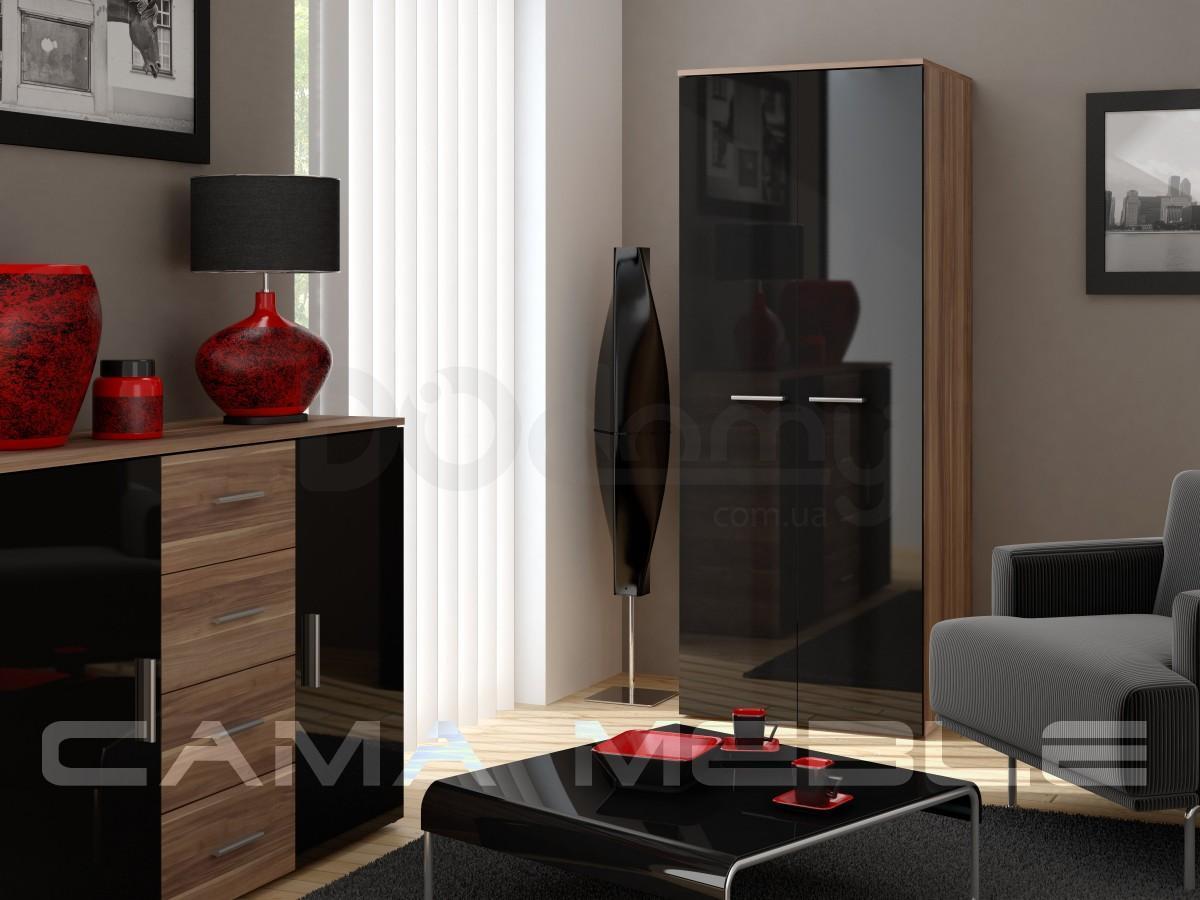 Шкаф универсальный CAMA Слива матовый / Черный глянец