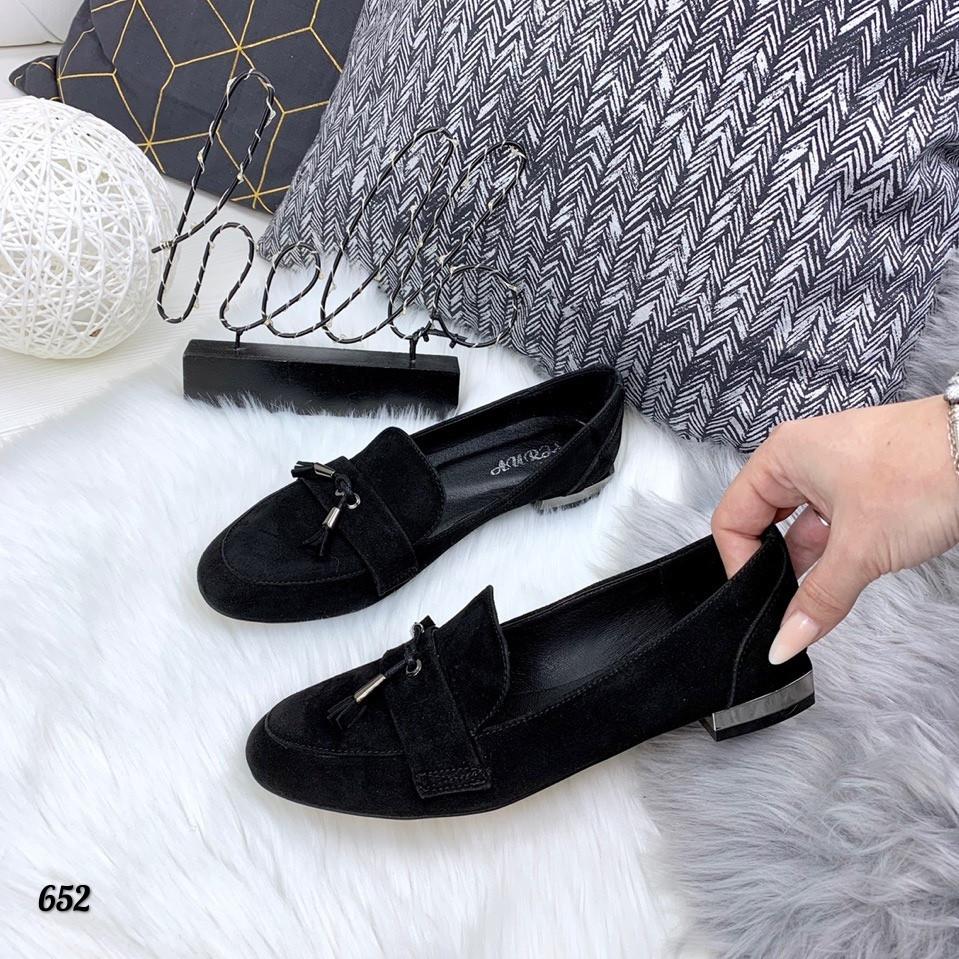 Туфли женские черные натуральная замша 652