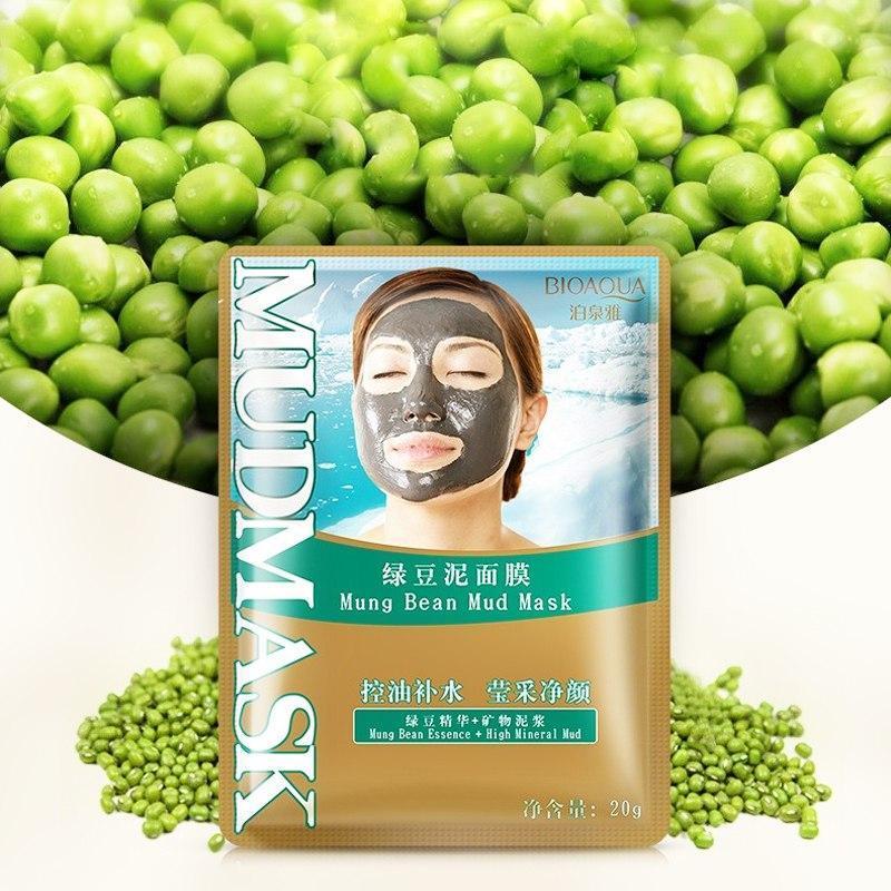 Маска для лица очищающая и тонизирующая  с минеральной грязью и бобами мунг BIOAQUA Mung Bean Mud Mask 20 ml