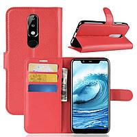 Чехол-книжка Litchie Wallet для Nokia 5.1 Plus Красный