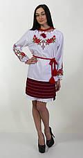 Вышитая женская блуза крестиком с длинным рукавом и уникальным орнаментом , фото 2