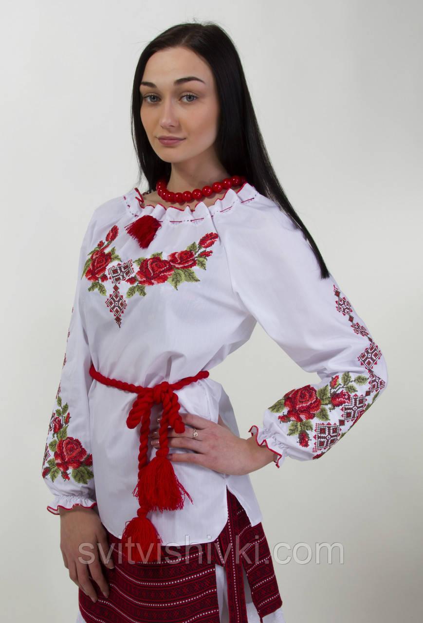 Вишита жіноча блуза хрестиком з довгим рукавом і унікальним орнаментом