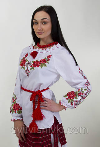 Вишита жіноча блуза хрестиком з довгим рукавом і унікальним орнаментом, фото 2