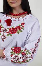 Вышитая женская блуза крестиком с длинным рукавом и уникальным орнаментом , фото 3