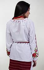 Вишита жіноча блуза хрестиком з довгим рукавом і унікальним орнаментом, фото 3