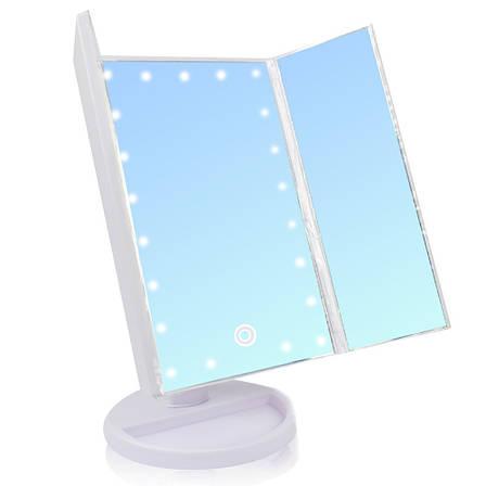 Зеркало для макияжа с подсветкой БЕЛОЕ Led mirror ставни + ПОДАРОК: Настенный Фонарик с регулятором BL-8772A, фото 2