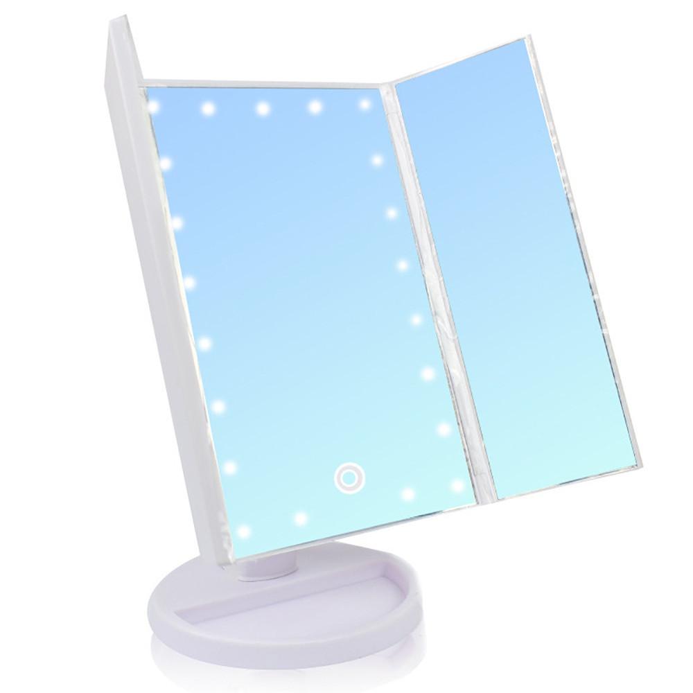 Зеркало для макияжа с подсветкой БЕЛОЕ Led mirror ставни + ПОДАРОК: Настенный Фонарик с регулятором BL-8772A