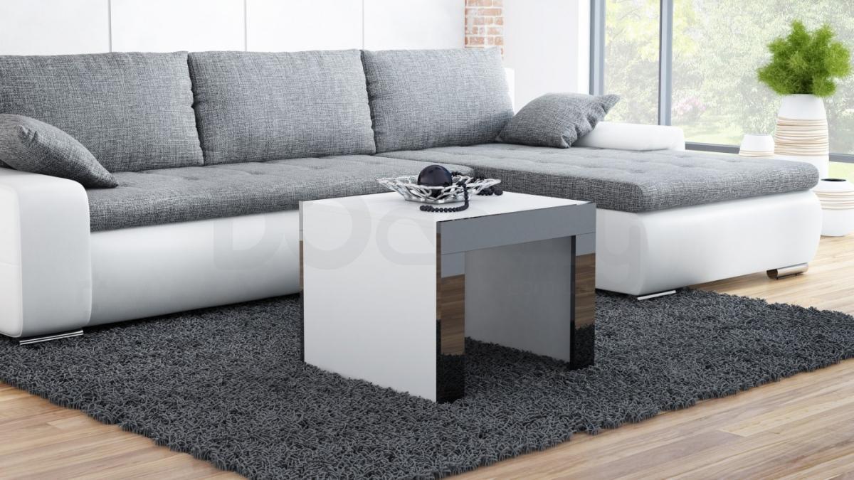 Журнальный столик TESS 60 CAMA Белый матовый / Черный глянец