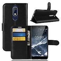 Чехол-книжка Litchie Wallet для Nokia 5.1 Черный