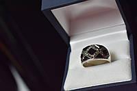 Серебряное кольцо с Черным Нефритом и кварцем