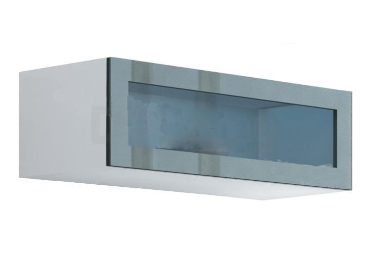 Витрина навесная стекло VIGO CAMA Белый матовый / Серый глянец