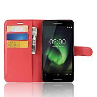 Чехол-книжка Litchie Wallet для Nokia 2.1 Красный