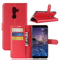 Чехол-книжка Litchie Wallet для Nokia 7 Plus Красный