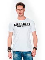 Футболка мужская с логотипом из страз белая XXL Cipo&Baxx