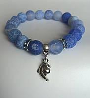 Браслет голубой женский из голубого агата с  подвеской Дельфин  BD3005
