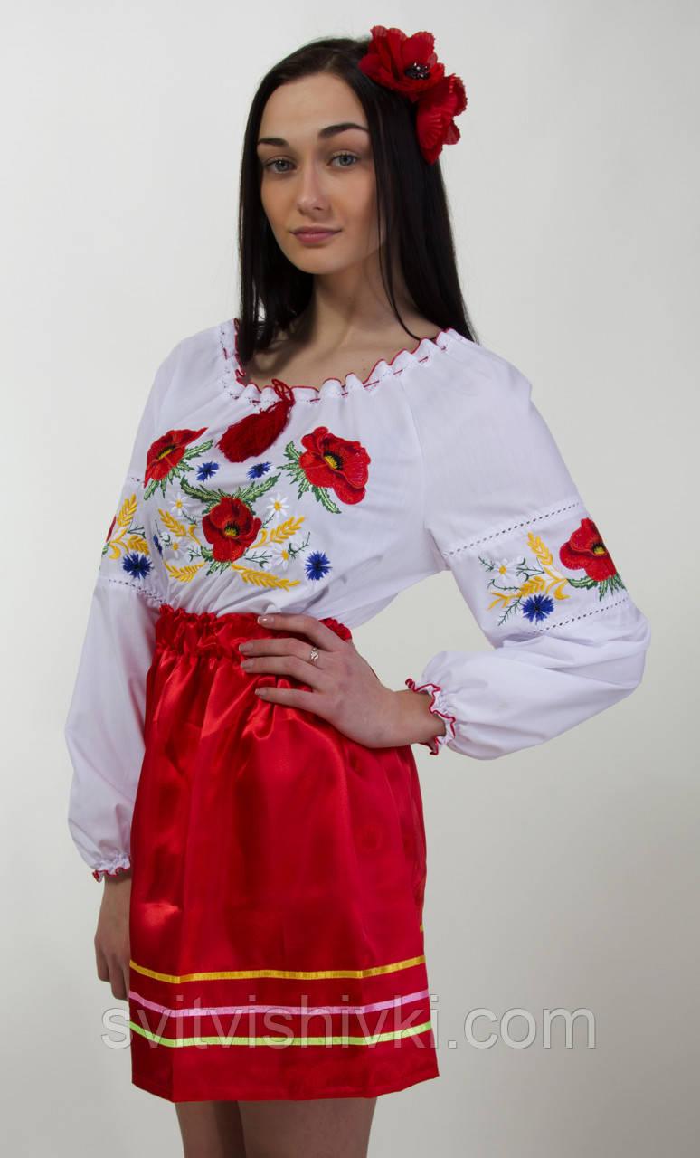 Жіноча вишита блуза з червоними маками та колосками