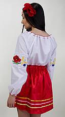 Жіноча вишита блуза з червоними маками та колосками, фото 3