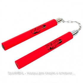 Нунчаку (нунчаки, нунтяку) тренировочные Kepai 3247, соединённые цепью. Цвет красный.