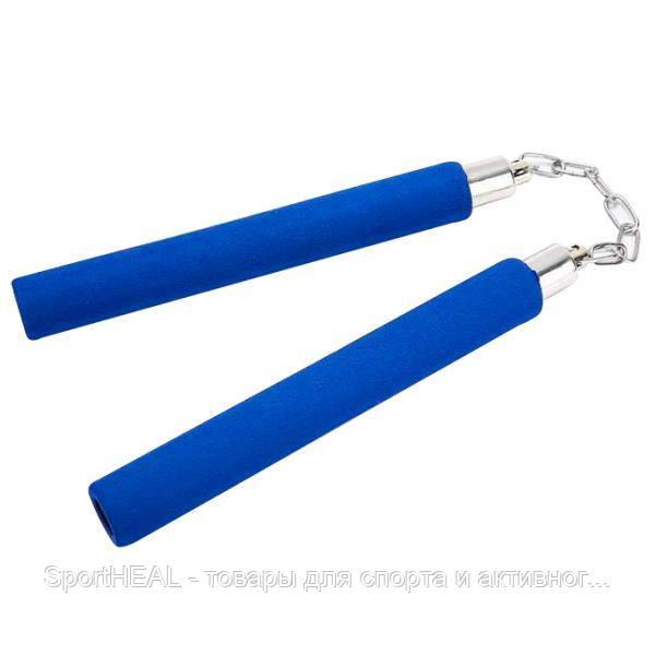 Нунчаку (нунчаки, нунтяку) тренировочные Kepai 5900-3, соединённые цепью. Цвет синий.