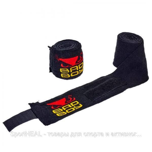 Бинты боксёрские Bad Boy 5464-3-1 хлопок с эластаном 3м. Цвет черный.