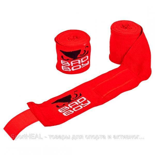 Бинты боксёрские Bad Boy 5464-3-4 хлопок с эластаном 3м. Цвет красный.