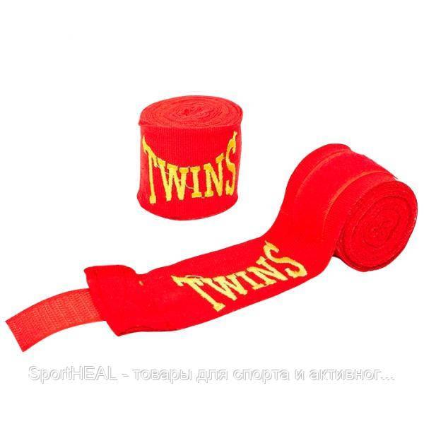 Бинты боксёрские Twins 5466-3-4 хлопок с эластаном 3м. Цвет красный.