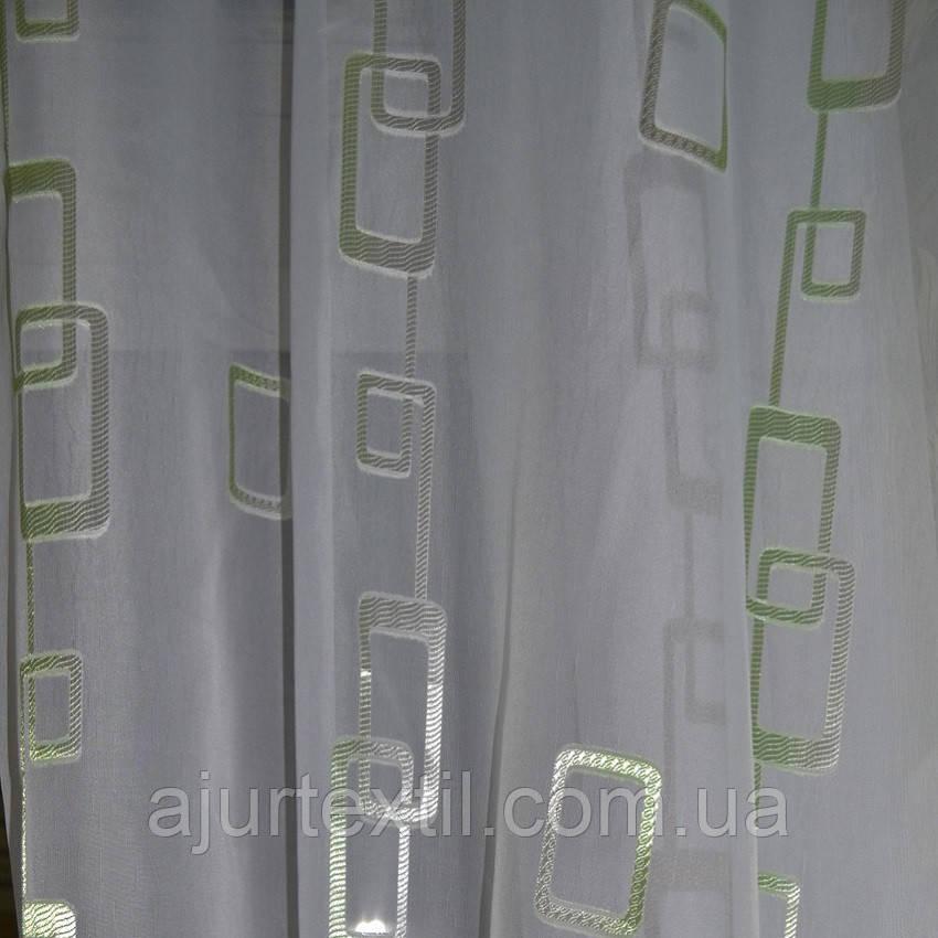 """Тюль вуаль фентези """"Цепочка"""" зелень"""