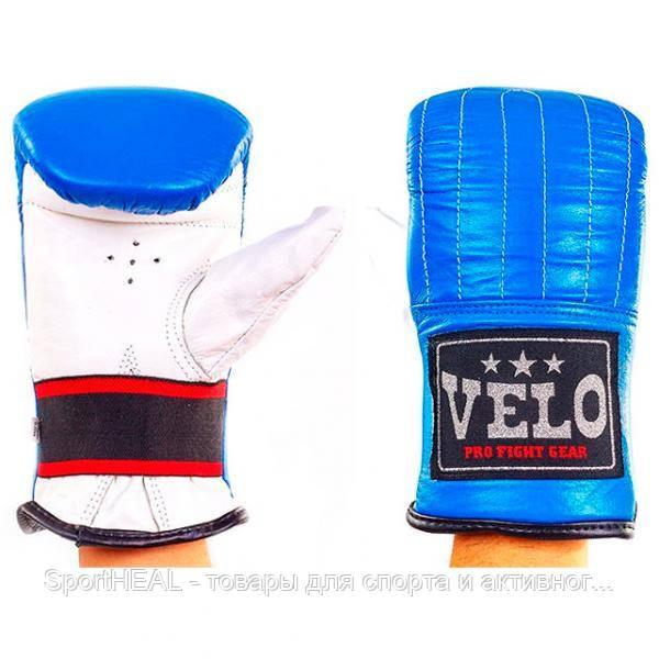 Снарядные перчатки кожаные VELO сине-белые 4006ULIZ-M