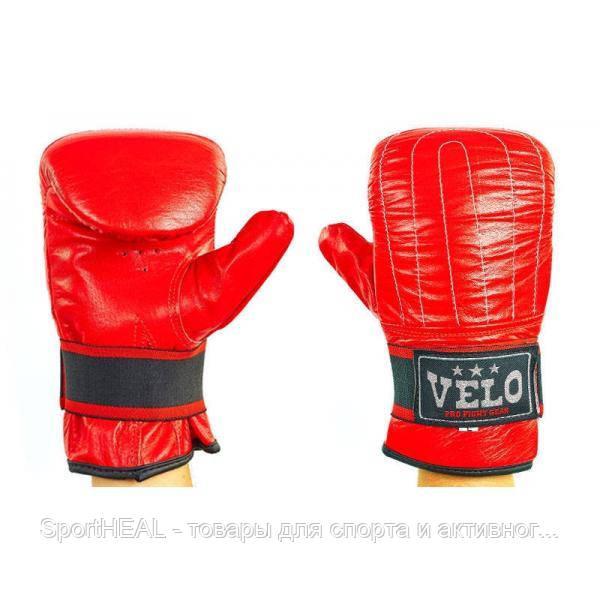 Снарядные перчатки с эластичным манжетом на липучке кожаные VELO красные 4004ULIZ-1-S