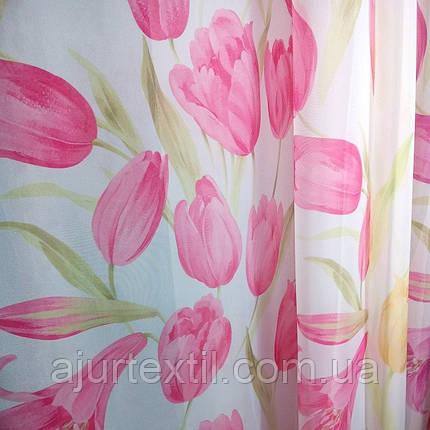 """Тюль печать """"Розовые тюльпаны"""", фото 2"""