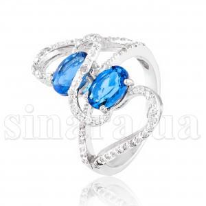 Серебряное кольцо с лондон топазом 29508