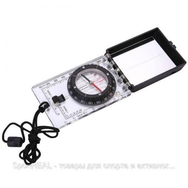 Компас жидкостный планшетный в закрытом корпусе с зеркалом (d-55мм, пластик, р-р 100х63мм)
