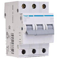 Hager Автоматический выключатель In=0,5 А, 3п, С, 6 kA, 3м MC300A