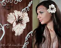 """""""Шоколадный гладиолус"""" заколка цветок для девушки ручной работы. , фото 1"""