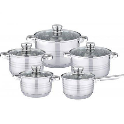 Посуда BOHMANN BH-1242 кухонный набор посуды кастрюль 10 предметов, фото 2