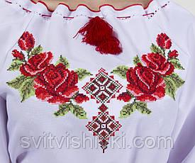 Платье вышитое женское на белом габардине с длинным рукавом, фото 3