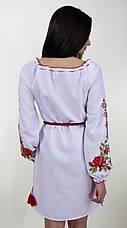 Плаття вишите жіноче на білому габардині з довгим рукавом, фото 3