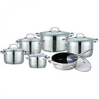 Комплект кастрюль для дома BOHMANN ВН 1912 MRB кухонный набор посуды 12 предметов
