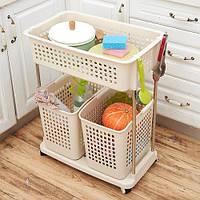 Этажерка с корзинами для кухни на колесиках R85297 пластик, 71см, стеллаж, тумба, этажерка, мебель, полки, Ikea, Икея