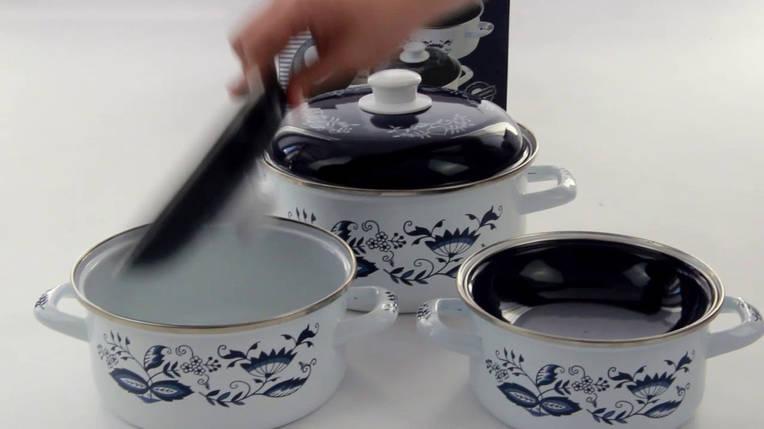 Набор кастрюль эмалированная посуда BOHMANN ВН 8306 кастрюли 3 шт 6 предметов, фото 2
