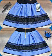 Детская стильная супер-модная синяя юбка из эко кожи+кружево. Арт-1525