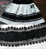 Детская стильная супер-модная белая юбка из эко кожи+кружево. Арт-1525