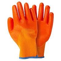 Перчатки трикотажные с частичным ПВХ покрытием утепленные р10 (оранж манжет) Sigma (9444411)