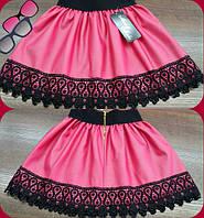 Детская стильная супер-модная розовая юбка из эко кожи+кружево. Арт-1526