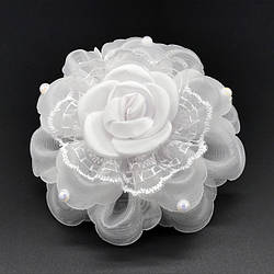 Бант школьный белый роза