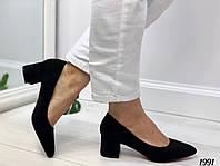 Туфли женские черные на маленьком каблуке 5 см эко замша